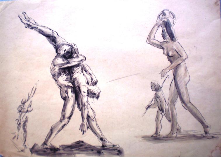 Estudo para a obra Hércules e Anteu
