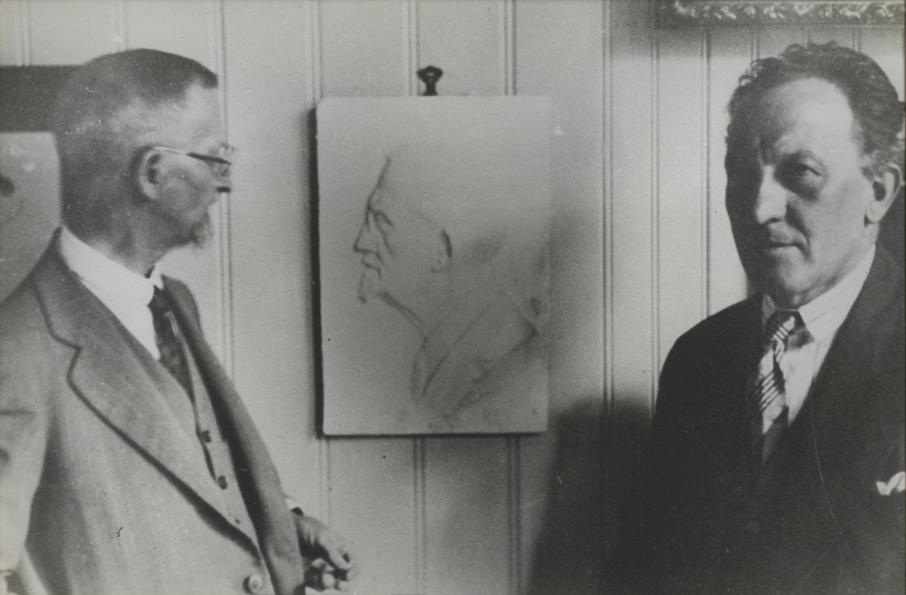 Alfredo Andersen no ateliê do artista